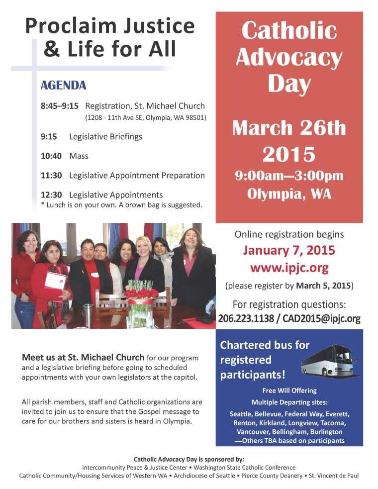 Flyer - 2015 Catholic Advocacy Day in Washington State