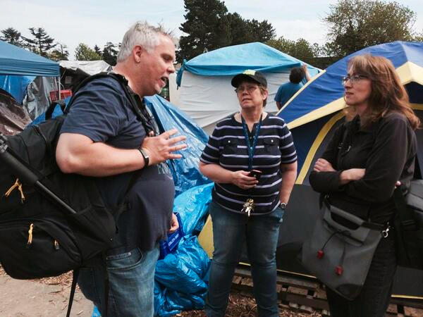 Jan Bolerjack, Mark Horvath and Catherine Hinrichsen -Tent City 3 at Riverside UMC in Tukwila, WA
